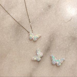 14 Karat Solid Gold White Opal Butterfly Necklace